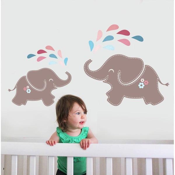 Samolepka na stenu Elephant Shower, 70x50 cm