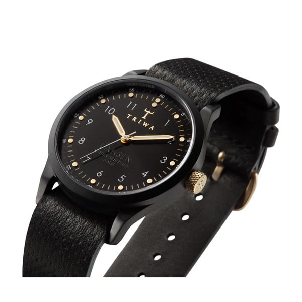 Unisex hodinky s čiernym koženým remienkom Triwa Midnight Lansen