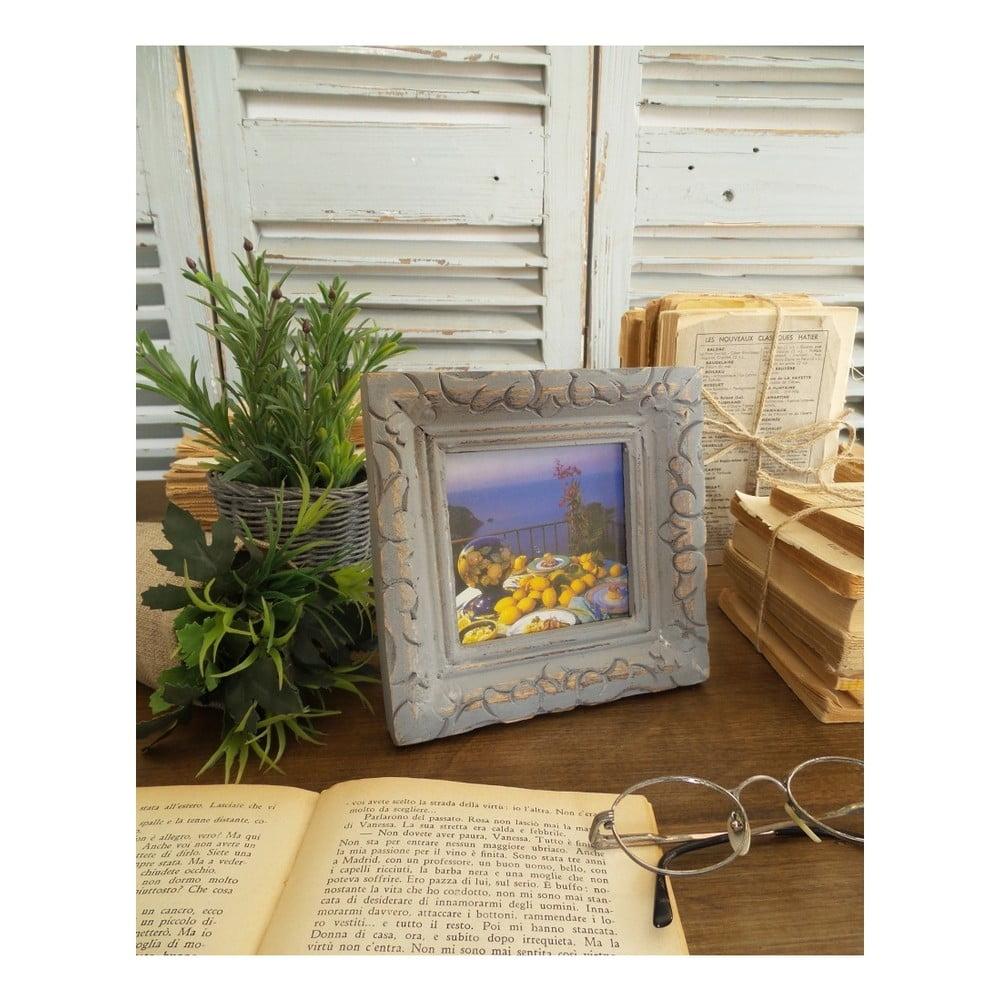 Sivý rám na fotku z mangového dreva Orchidea Milano, vhodná velikost fotografie 9 × 9 cm