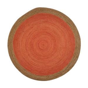 Oranžový jutový koberec vhodný do exteriéru Native, ⌀200 cm