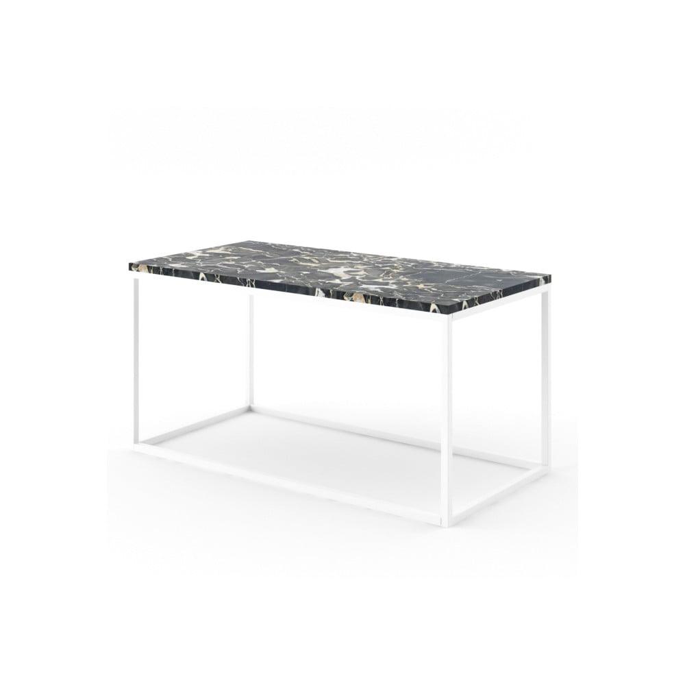 Veľký čierny konferenčný stôl z mramoru s bielou podnožou Absynth Noi Italy