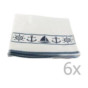 Sada 6 bielo-modrých uterákov Marina, 30 x 50 cm