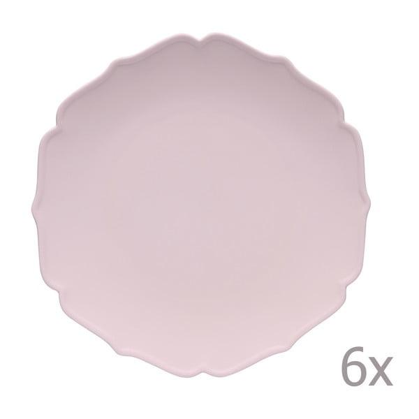 Sada 6jedálenských tanierov Glamour Rosa
