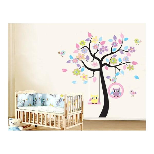 Dekoratívna samolepka Farebný strom se sovičkami, 160x160 cm