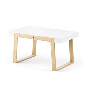 Stôl z dubového dreva s bielou doskou a bielymi detailmi Absynth Magh, 140×80cm