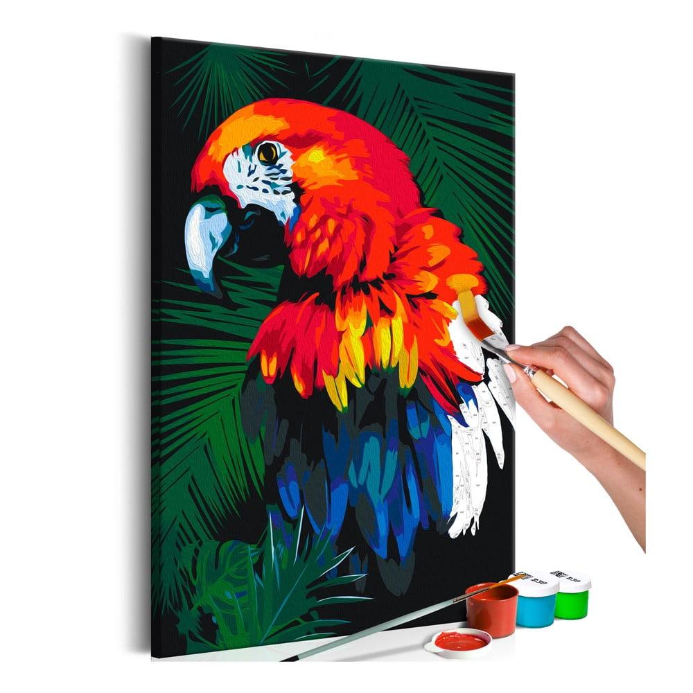 DIY set na tvorbu vlastného obrazu na plátne Artgeist Parrot, 40 × 60 cm