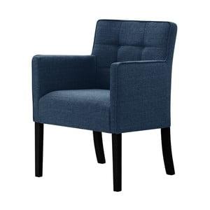 Denimová modrá stolička s čiernymi nohami Ted Lapidus Maison Freesia