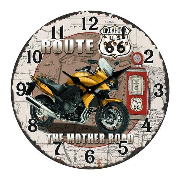 Sklenené hodiny The Mother Road, 38 cm