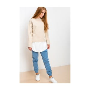 Béžovo-biela mikina Lull Loungewear Brave Souled, veľ. XL