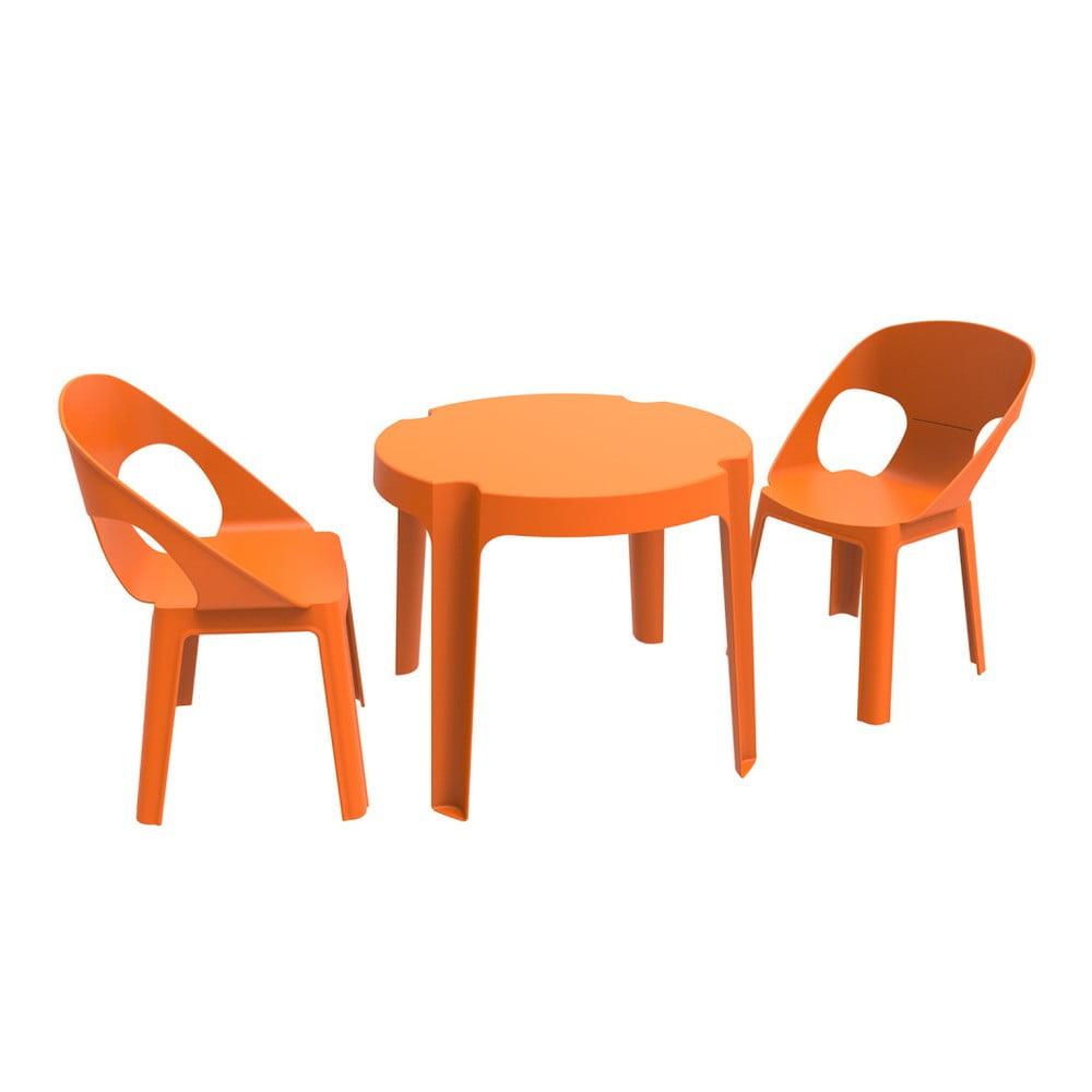 Oranžový detský záhradný set 1 stola a 2 stoličiek Resol Julieta