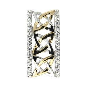 Strieborný prívesok s bielymi krištáľmi Swarovski Elements Crystals Gold Rectangle Rina