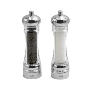 Sada 2 mlynčekov na soľ a čierne korenie v striebornej farbe Bisetti Spice It Up