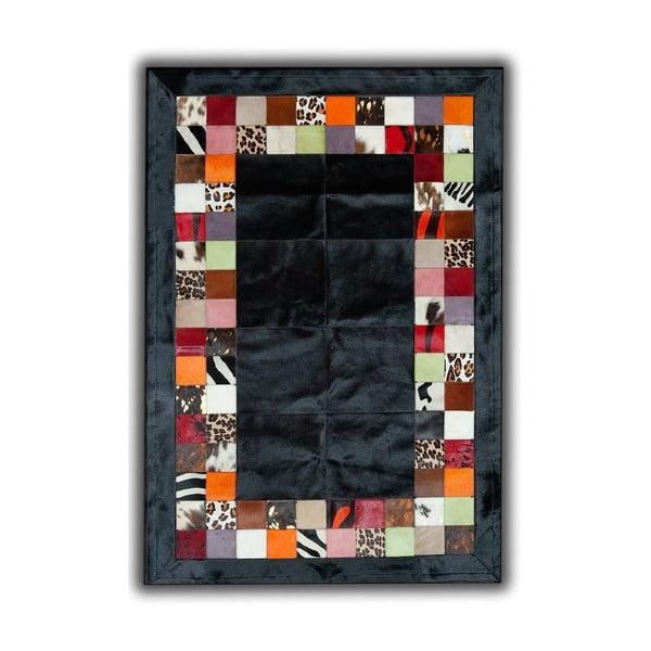 Koberec z pravej kože Black, 140x200 cm