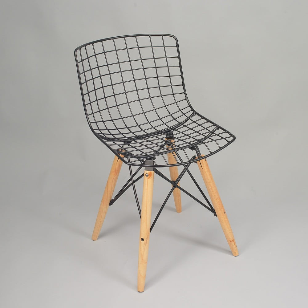 Čierna stolička s nohami z borovicového dreva a výpletom z kovu Simla Matt