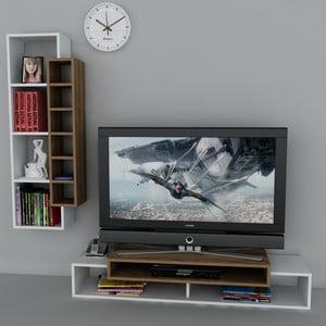Televízny stolík First TV Stand White/Walnut
