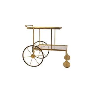 Servírovací pojazdný stolík s detailmi v zlatej farbe Miloo Home Savoy