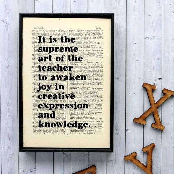 Plagát v drevenom ráme Einstein Teacher