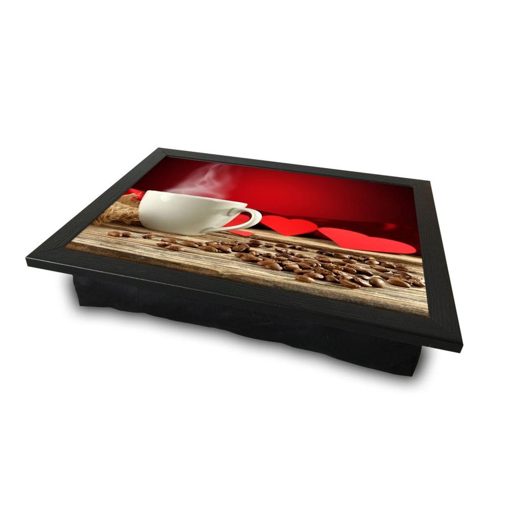Servírovací podnos s vankúšom na spodnej strane Love Coffee, 36 × 46 cm