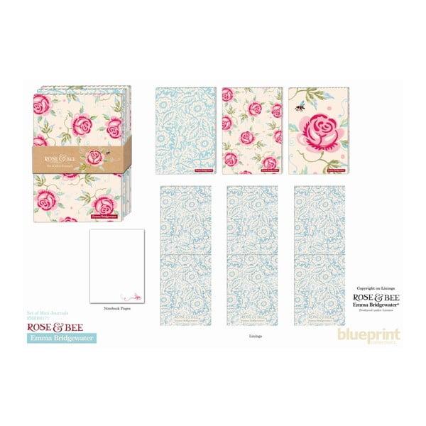 Sada troch zápisníkov Blueprint Collections Rose Bee A7