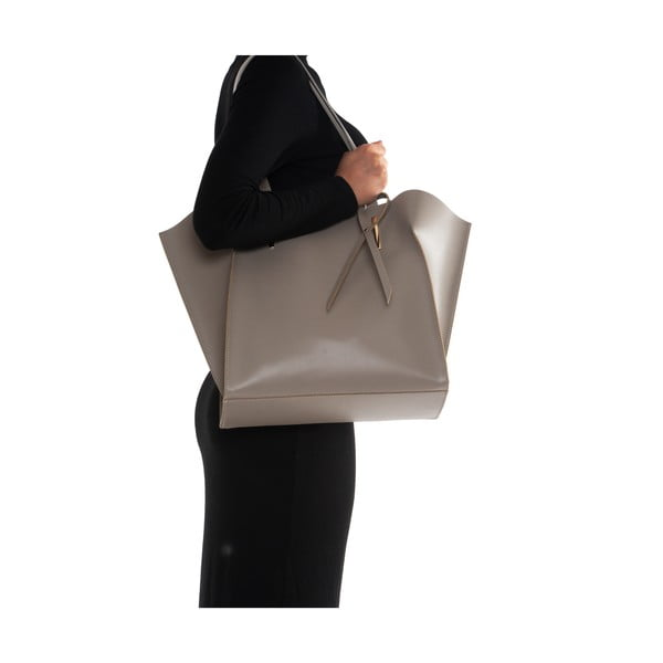 Béžová kožená kabelka Mangotti Kalina