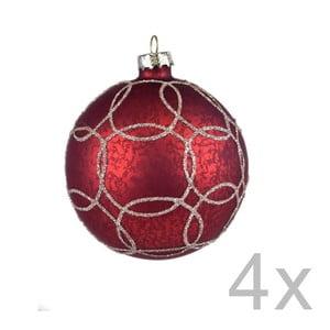 Sada 4 červených závesných vianočných gulí na stromček Ego Dekor Milato