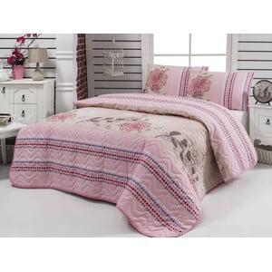 Sada prešívanej prikrývky cez posteľ a dvoch obliečok na vankúš Bukle, 200x220 cm