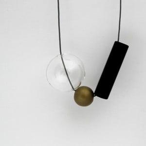 Sklenený závěsný náhrdelník ko–ra–leGeomeTRIgold
