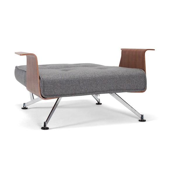 Sivé rozkladacie kreslo s opierkami Innovation Clubber Chair