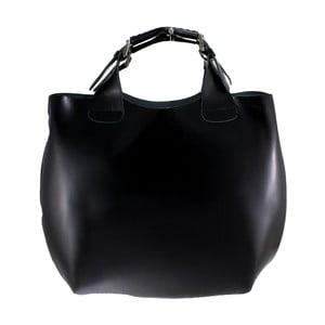 Čierna kožená kabelka Chicca Borse Basso