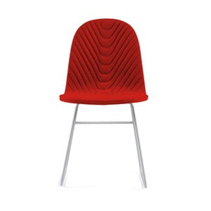 Červená stolička s kovovými nohami IKER Mannequin V Wave