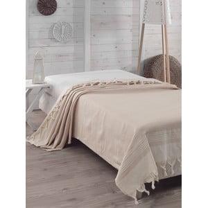 Bavlnená prikrývka na posteľ Hasir Beige, 200×240 cm