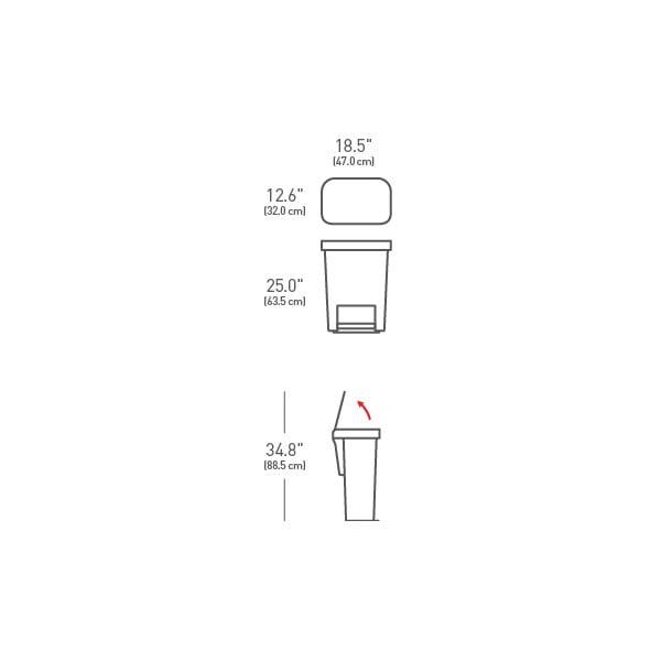 Strieborný odpadkový kôš simplehuman, 55 l