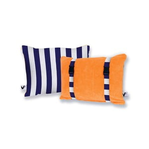 Oranžový obojstranný plážový vankúš Origama Blue Stripes