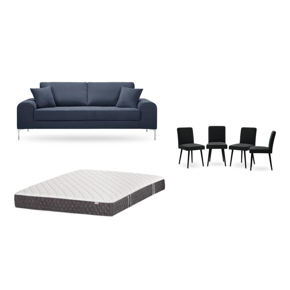Set trojmiestnej tmavomodrej pohovky, 4 čiernych stoličiek a matraca 160 × 200 cm Home Essentials