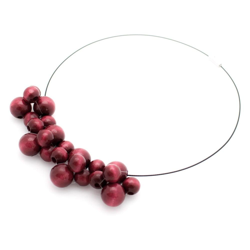 Vínový drevený náhrdelník Ko–ra–le Bubbles