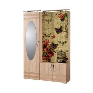 Hnedá predsieňová stena so zrkadlom Síhirlí Butterfly, výška 195 cm