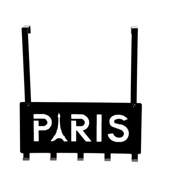 Čierny vešiak na dvere s 5 háčikmi Compactor Paris