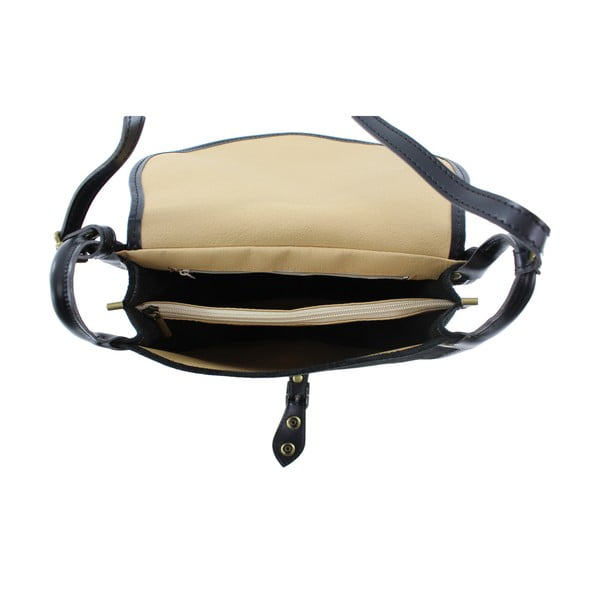 Kožená kabelka cez rameno Gina, čierna