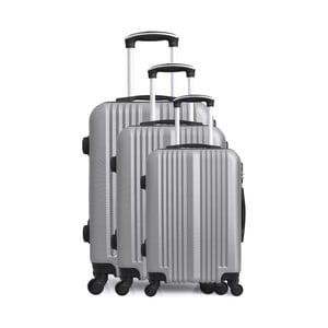 Sada 3 cestovných kufrov v striebornej farbe na kolieskach Hero San Diego