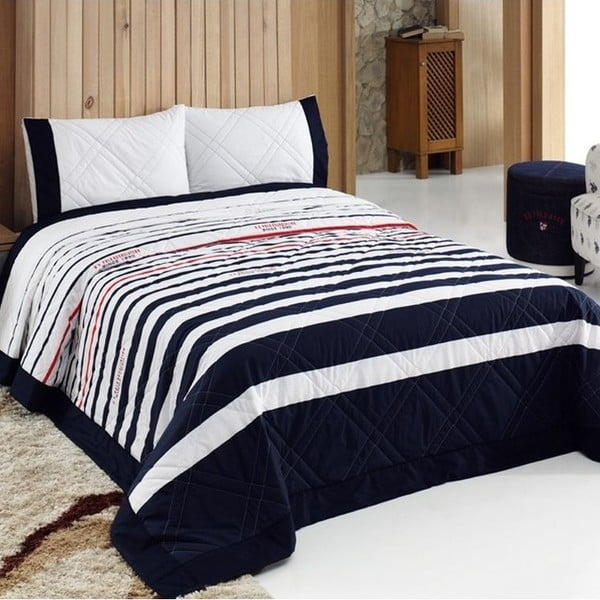 Sada prikrývky cez posteľ a vankúša US Polo Springfield, 180x250 cm