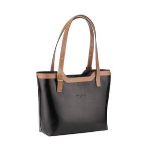 Kožená kabelka Emilio Masi Zosma, béžová/čierna