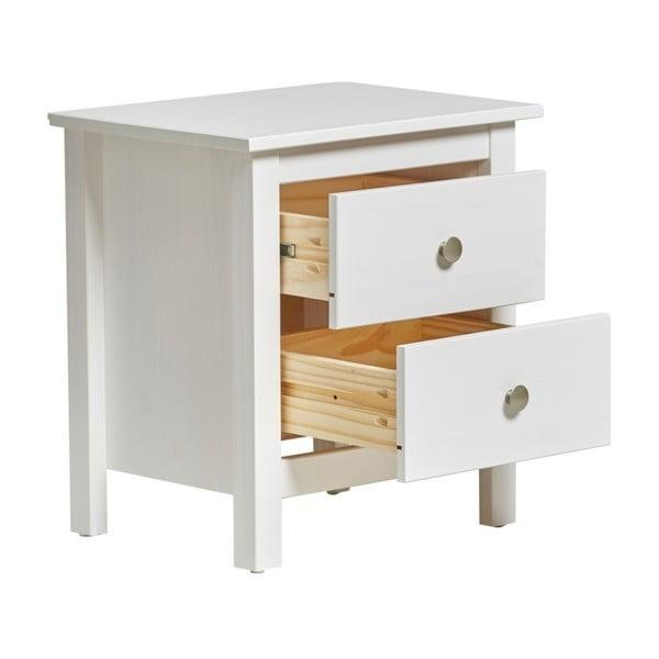Biely nočný stolík z masívneho borovicového dreva s 2 zásuvkami Marckeric Berna