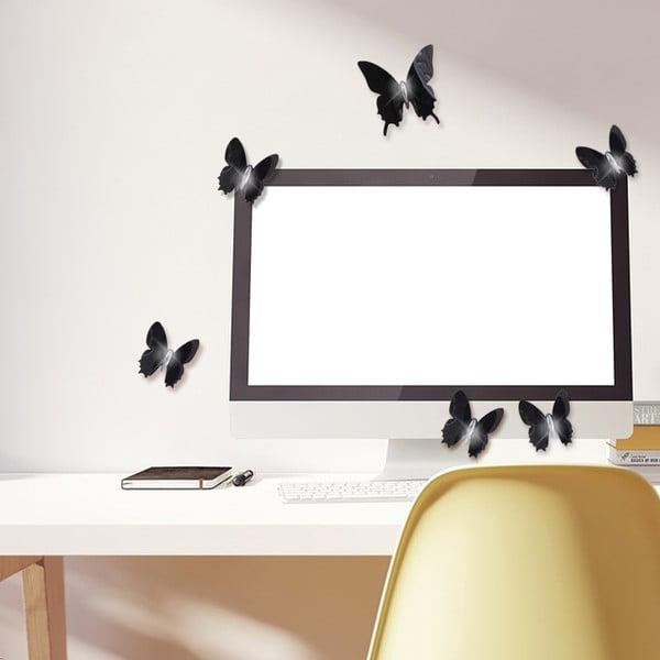 Sada 12 čiernych adhezívnych 3D samolepiek Ambiance Fanastick Wall Butterflies