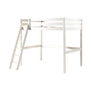 Biela detská posteľ s rebríkom Vipack Pino, 140 × 200 cm