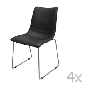 Sada 4 čiernych stoličiek Canett Delta