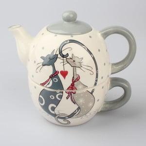 Keramický set na čaj Dakls Cats Couple