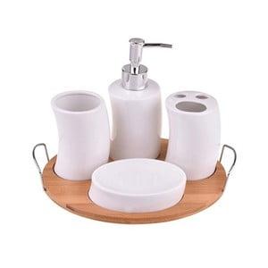 Kúpeľňový porcelánový set na bambusovom podnose Bambum Adalis