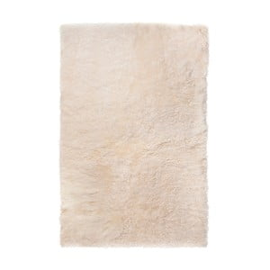 Biely kožušinový koberec s krátkym vlasom, 100 x 60 cm