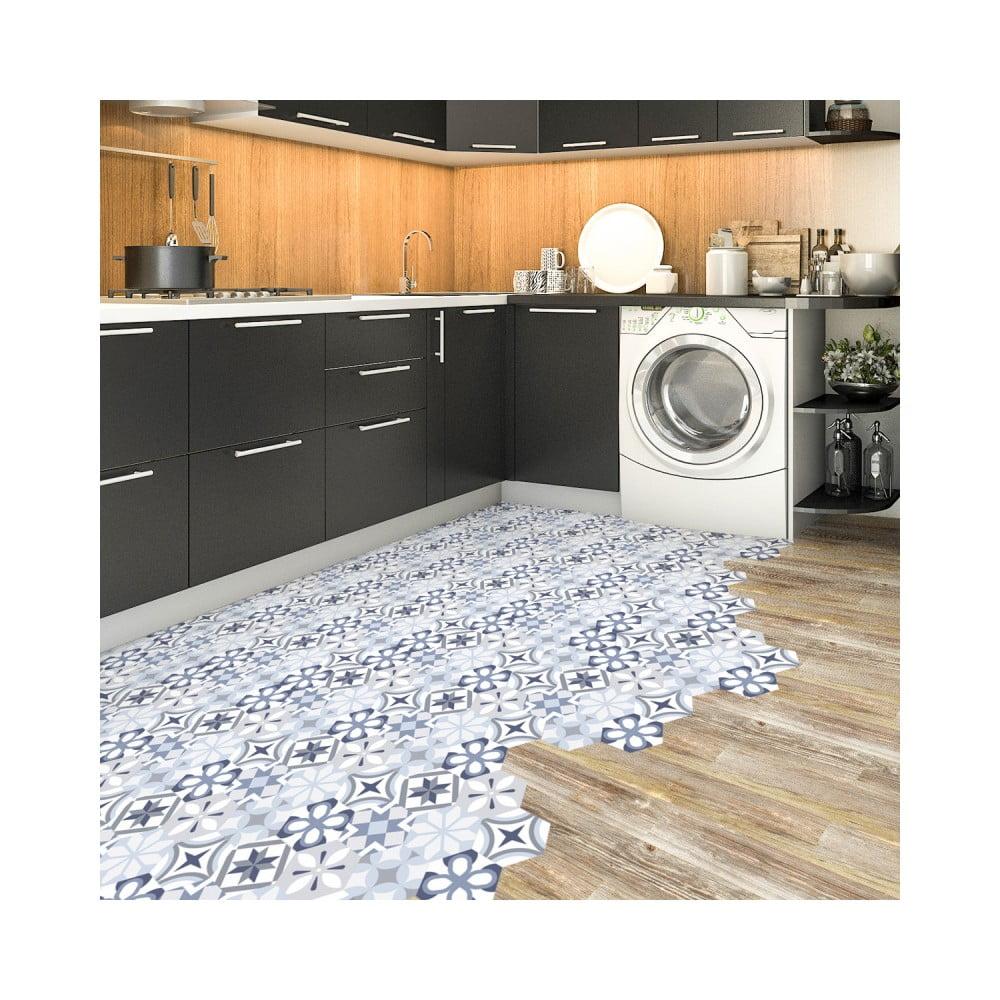 Sada 10 samolepiek na podlahu Ambiance Floor Stickers Hexagons Vitorio, 40 × 90 cm
