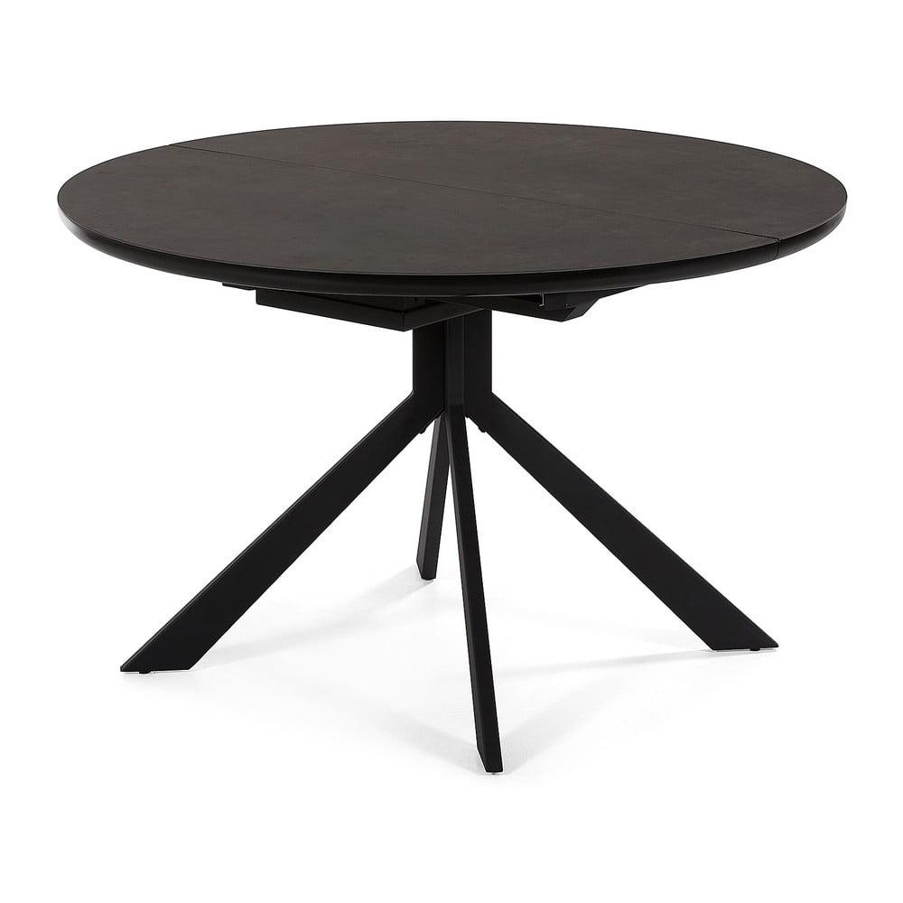 Čierny rozkladací jedálenský stôl La Forma Haydee, ø 120 cm